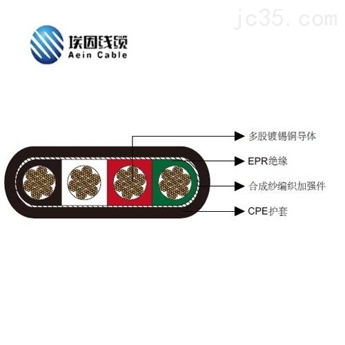 四芯4*2/0扁平移动电力CPE电缆2kV