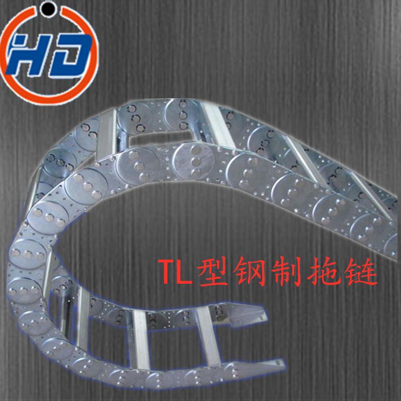 厂家定做钢制拖链 耐腐蚀钢铝拖链渗碳处理 机床穿线缆全封闭拖链示例图2